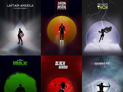 The Avengers Collection marvel the avengers silhouette design posters photoshop superheroes