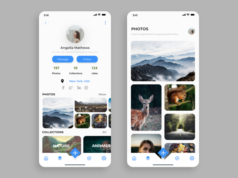 Brief profile info and Collection of photos cab collection camera app ui ux design ios illustration adobe xd
