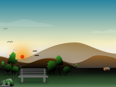 Sunrise Landscape Fully Vector