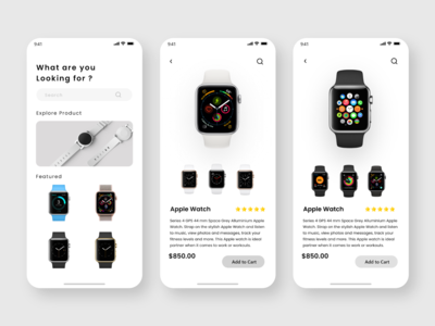 Concept of Home and Product Details  Page of Apple Watches
