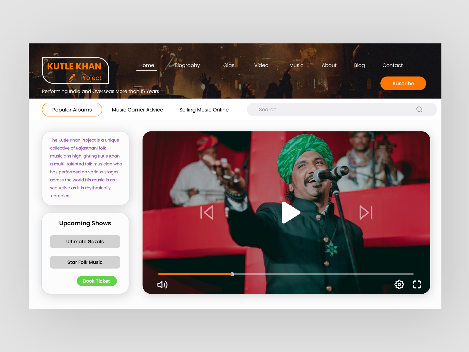 Landing Page for Musician and Singers Website musician singer landing page adobe xd ux  ui ios