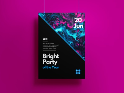 Bright Party poster illustration photoshop font typography style design