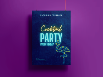 Cocktail party poster party club photoshop font typography style design
