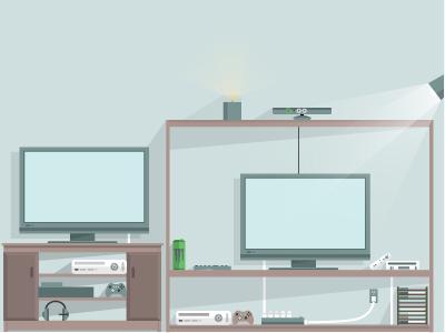 Living Room Flat Vector Illustration flat vector illustration illustrator opacity shadows lights gamer tv debut