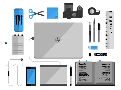 My Design Tools! designer desk vector illustration flat shadows tech devices tools e-scale android