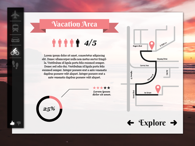 Travel Exploration UI Concept bright colors contrast clean directions travel dashboard website ui flat