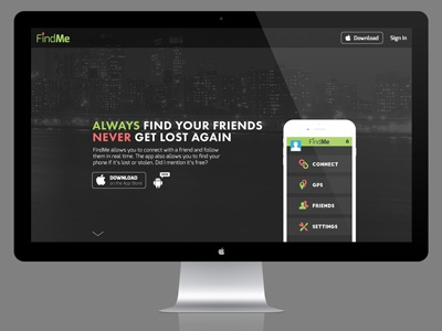 FindMe App Landing Page edgy modern responsive design product futura exo features website