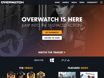 Overwatch Landing Page Redesign ui web landing page fps gaming blizzard overwatch
