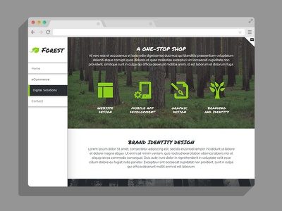 Forest - Responsive Muse Template Vertical Navigation outdoors minimal green side nav vertical nav forest theme template muse adobe
