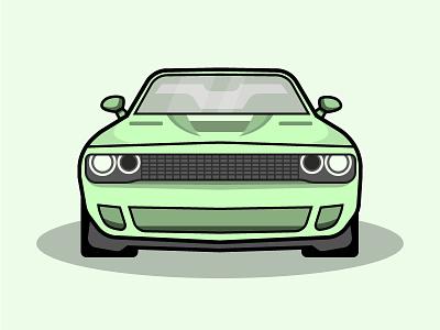Dodge Challenger dodge challenger green lines car illustration