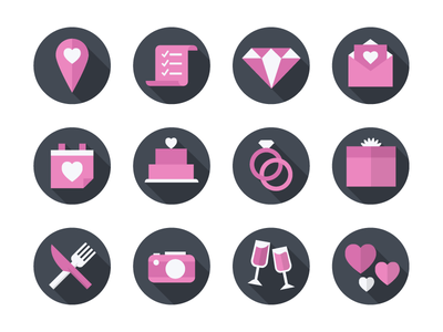 Flat Wedding Icon Set hearts silverware rings cake invitation diamond checklist pink modern flat icons wedding