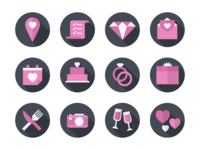 Flat Wedding Icon Set