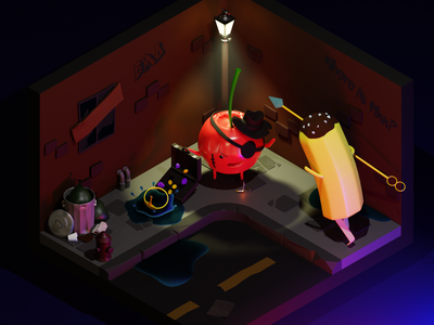 Adventure Time, last days of the candy kingdom illustration design 3d low polygon low poly art