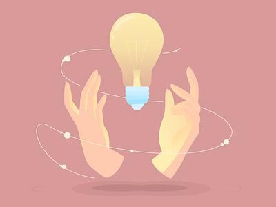 Idea in hand gradient design icon gradient 2d design figma idea illustration bulb hand vector illustration vector