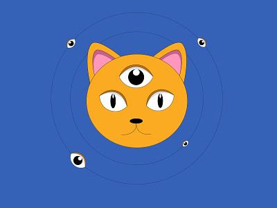 Wise Cat with opened third eye third eye thirdeye character design character icon program website vector calendar eyes cat illustrator web design illustration
