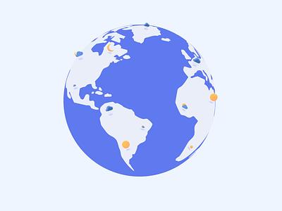 Earth illustration illustrator figma icon blue background blue design weather icon globe weather 3d 2d earth illustraion