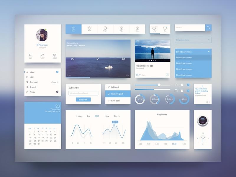 Blue UI Kit  website graph camere app blue icon ui kit mobile search