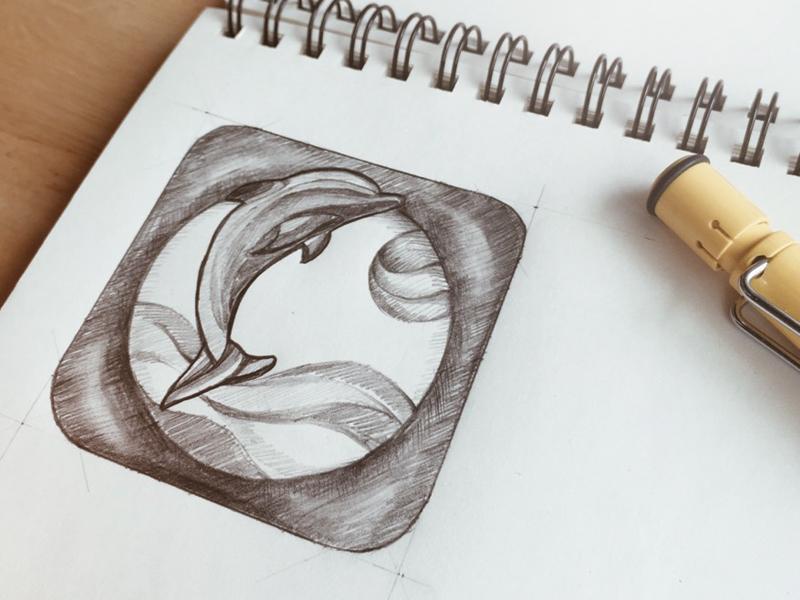 Sketch App Icon/Pattaya/sea/dolphin interface ux web water dolphin icon app ui sketch