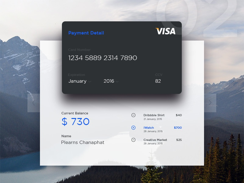 Credit Card - Current Balance  credit payment mobile ux ui