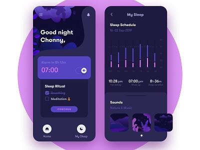 Sleep Tracking App 🌜 figma fig purple pink sleeping mobile icon illustrator illustraion dark ui dark black sleep ui