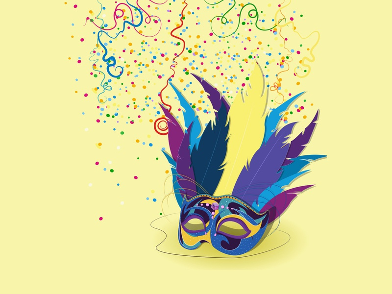 Mask & Confetti vectorillustration digitalillustration adobeillustrator