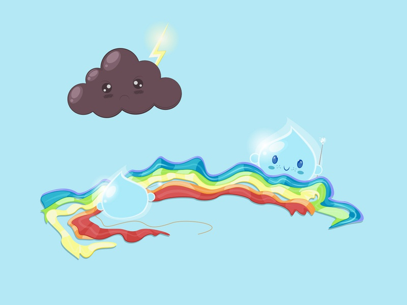 How the Rainbow is born kawaii cutedesign vectorillustration digitalillustration adobeillustrator