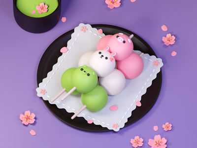 Dango! sakura character food illustration cute art cute animal blender 3d art design bear pig rabbit cute food dango