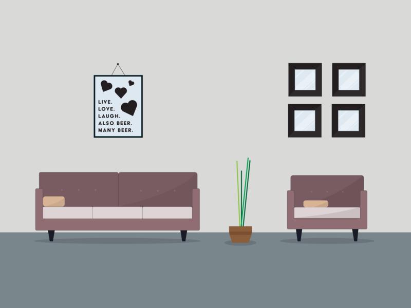 Living Room Scene - Illustration