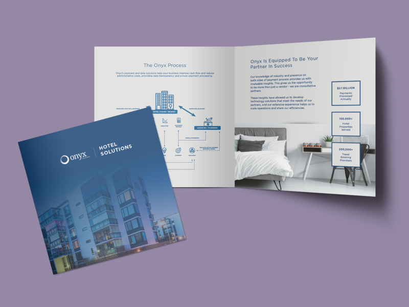 Hotel Solutions Brochure - Onyx marketing collateral sales collateral indesign composition vector flat illustration illustrator graphic design design