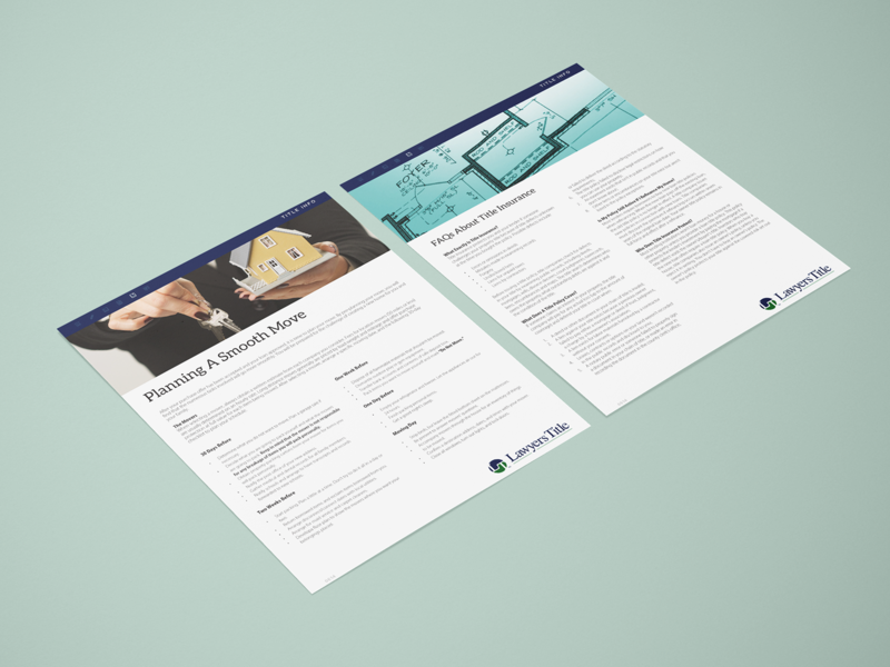 Planning a Smooth Move / FAQ - Lawyer's Title sales collateral photoshop marketing collateral layout indesign graphic design design composition branding