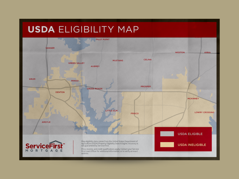 USDA Eligibility Map - Northern DFW - SFMC map design layout vector sales collateral photoshop marketing collateral map indesign illustrator illustration graphic design flat design composition branding