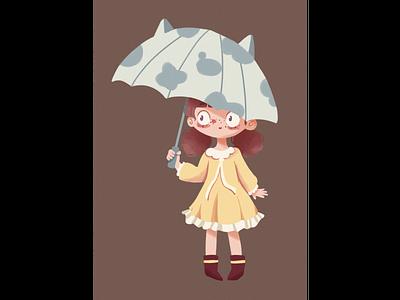Umbrella girl 人物 character 设计 插图 illustration design