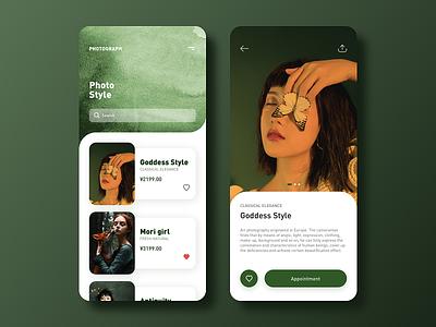 Art Photography Service (Conceptual Design) app design ui