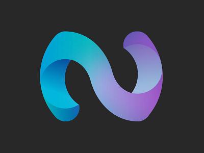 N logo gradient shapes 3d logo n letter