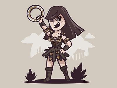 Xena warrior princess princess greek strong woman character vector illustration warrior xena