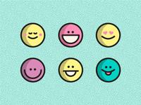 Set of happy emojis