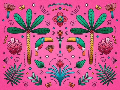 Tucan pattern floral leaves jungle palms tucan
