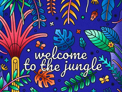 Welcome to the jungle butterfly forrest leaves botanical jungle