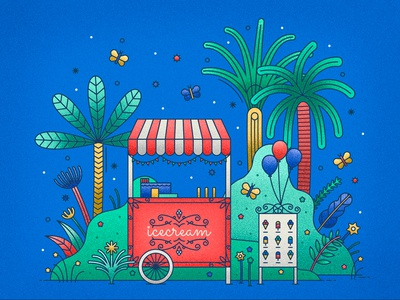 Icecream stand floral flowers ballons beach vacation butterfly leaves palms summer ice icecream