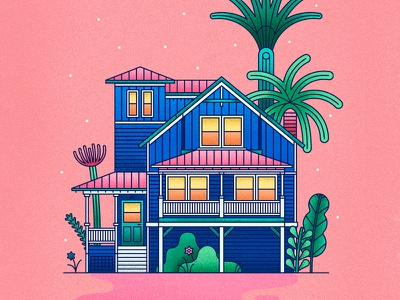 Beach House flower barbie pink grain vacation beach palms architecture house