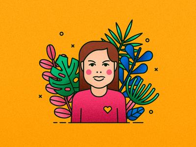Personal avatar table desk floral leaves girl face avatar portrait