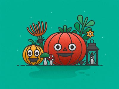 Halloween leaves lantern spider fall pumpkin stilleben halloween