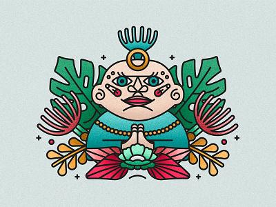 Character design god religion plants rapper buddha