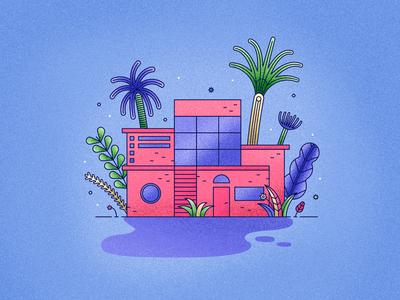 Pink Beach House palms holiday summer beach house