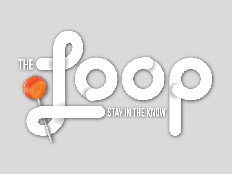 The Loop infinity 3d layered rounded font candy masthead logo newsletter