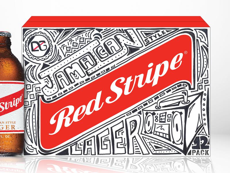 Red Stripe boombox art direction branding 12 pack box design red red stripe lager line art handlettered doodling illustration beer branding beer label beer art beer