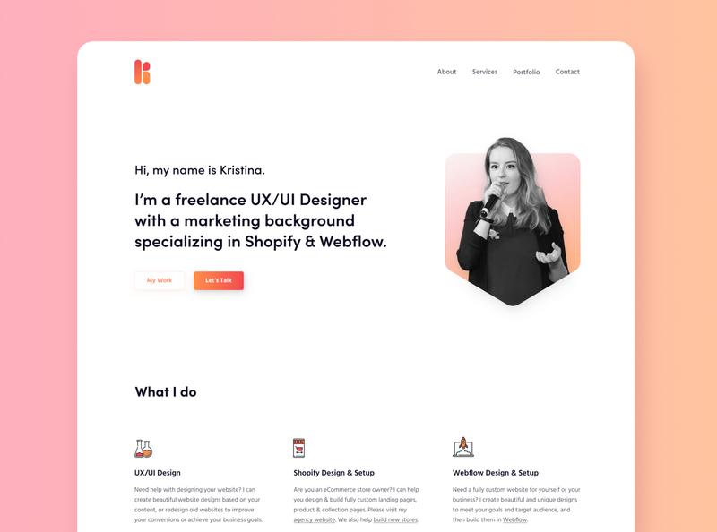 Kristina.Marketing Redesign (a Freelance UX/UI Designer)