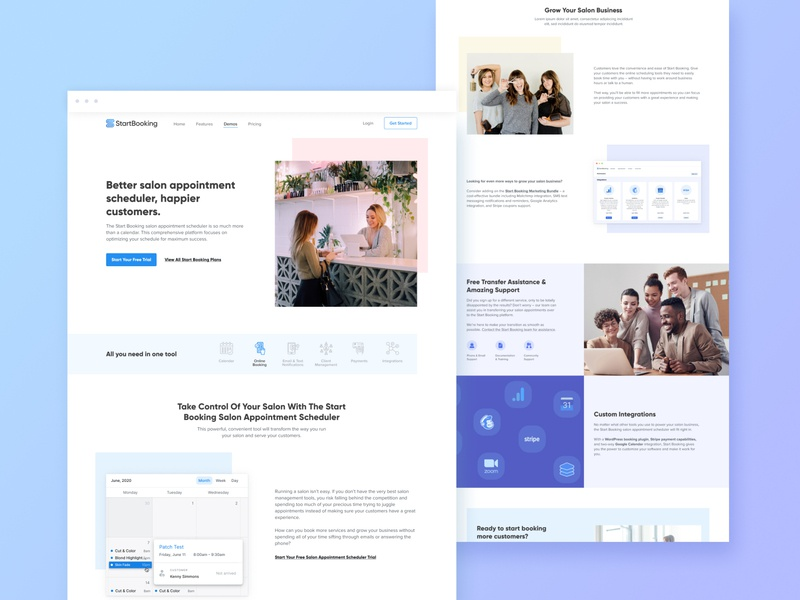 Landing Page Redesign for a SaaS Product (Online Scheduler) saas design saas website redesign landing page design scheduling scheduler wordpress software product design b2b online booking booking product page startup saas landing page saas website landing page web design webdesign