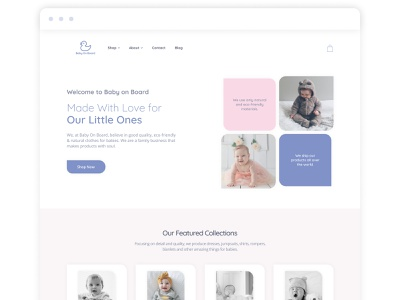 'Baby on Board' eCommerce site (alternative version) website shopify design online shopping online store online shop ecommerce shop web design webdesign fashion baby clothes baby babies shopify ecommerce design ecommerce