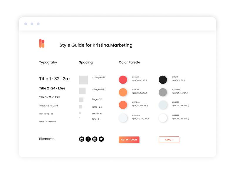 Style Guide for Kristina Marketing branding brand design brand digital marketing company marketing agency marketing digital marketing agency digital marketing style guide styleguide style design website webdesign web design